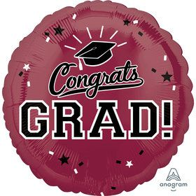 "Graduation 18"" Foil Balloon Maroon Burgundy (1)"