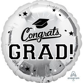 "Graduation 18"" Foil Balloon Silver (1)"