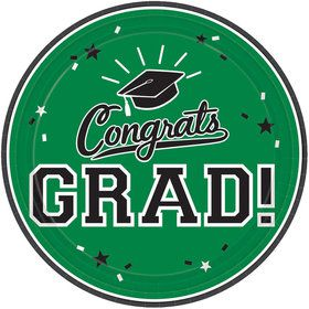 "Graduation 7"" Dessert Plate Green (18 Count)"
