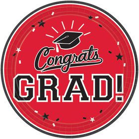 "Graduation 7"" Dessert Plate Red (18 Count)"