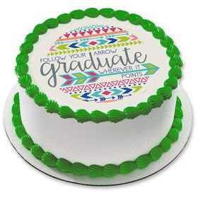 "Graduation Arrow 7.5"" Round Edible Cake Topper (Each)"