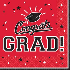 Graduation Beverage Napkins Red (36 Count)
