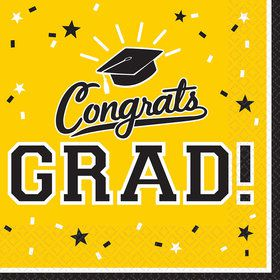 Graduation Beverage Napkins Yellow (36 Count)