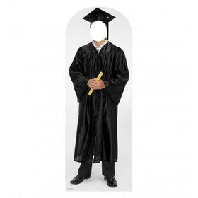 Graduation Black Robe Cardboard Stand-In