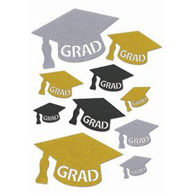 Graduation Cap Glitter Cut Out Wall Decor Set (10pcs)