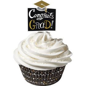 Graduation Cupcake Cups and Picks Combo Pack (24 Count)