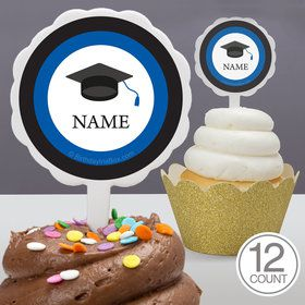 Graduation Day Blue Personalized Cupcake Picks (12 Count)