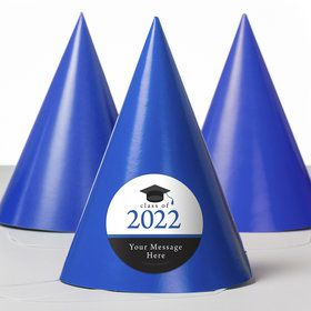 Graduation Day Blue Personalized Party Hats (8 Count)