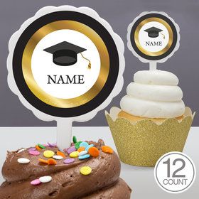 Graduation Day Gold Personalized Cupcake Picks (12 Count)