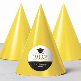 Graduation Day Gold Personalized Party Hats (8 Count)