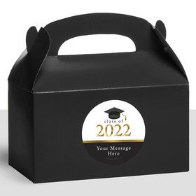 Graduation Day Gold Personalized Treat Favor Boxes (12 Count)