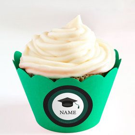 Graduation Day Green Personalized Cupcake Wrappers (Set of 24)