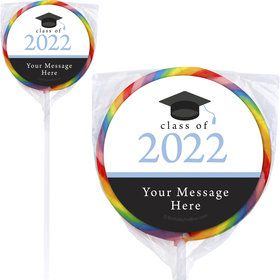 "Graduation Day Light Blue Personalized 3"" Lollipops (12 Pack)"