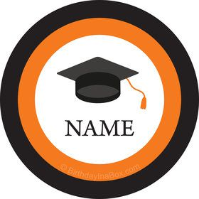 Graduation Day Orange Personalized Mini Stickers (Sheet of 24)