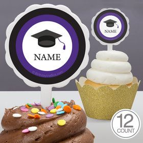 Graduation Day Purple Personalized Cupcake Picks (12 Count)