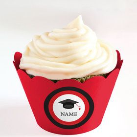 Graduation Day Red Personalized Cupcake Wrappers (Set of 24)