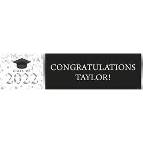 Graduation Day Silver Personalized Banner (Each)