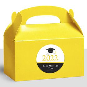 Graduation Day Yellow Personalized Treat Favor Boxes (12 Count)