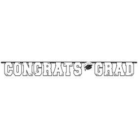 Graduation Giant 10 Foot Letter Banner White