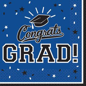 Graduation Lunch Napkins Blue (36 Count)