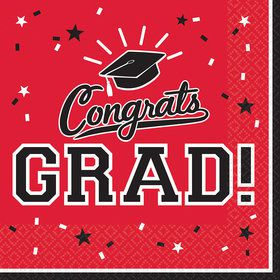 Graduation Lunch Napkins Red (36 Count)