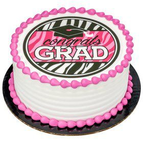 "Graduation Pink 7.5"" Round Edible Cake Topper (Each)"