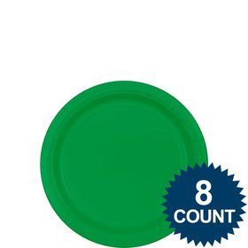 "Green 7"" Paper Cake Plates (8 Pack)"