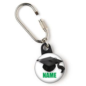 "Green Caps Off Graduation Personalized 1"" Carabiner (Each)"