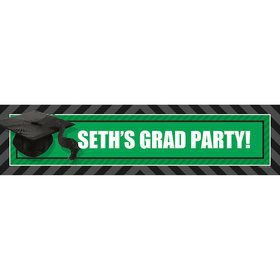Green Caps Off Graduation Personalized Banner (Each)
