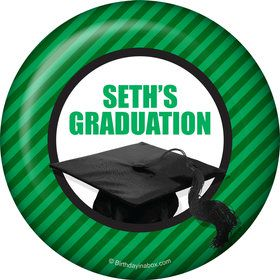 Green Caps Off Graduation Personalized Button (Each)