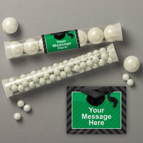 Green Caps Off Graduation Personalized Candy Tubes (12 Count)