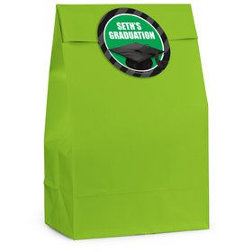 Green Caps Off Graduation Personalized Favor Bag (12 Pack)