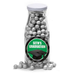 Green Caps Off Graduation Personalized Glass Milk Bottles (12 Count)