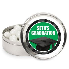 Green Caps Off Graduation Personalized Mint Tins (12 Pack)