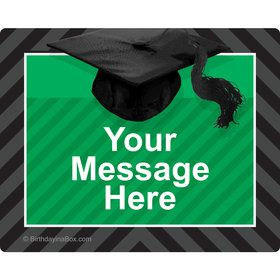 Green Caps Off Graduation Personalized Rectangular Stickers (Sheet of 15)