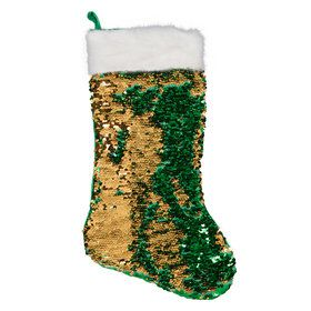 Green Gold Reversible Sequin Stocking