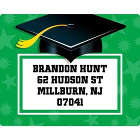 Green Grad Personalized Address Labels (Sheet Of 15)