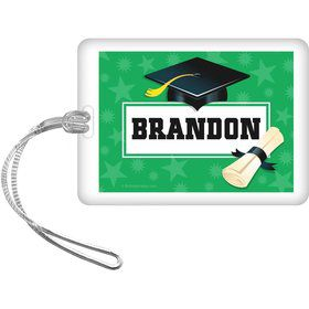 Green Grad Personalized Bag Tag (Each)