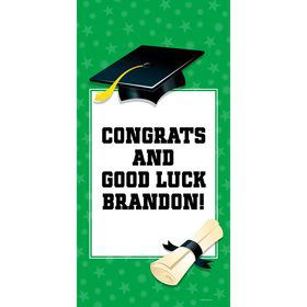 "Green Graduation Personalized Giant Banner 30x60"" (Each)"