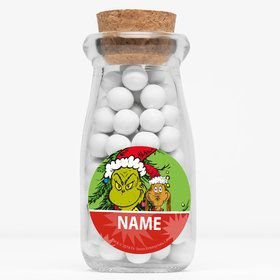 "Grinch Personalized 4"" Glass Milk Jars (Set of 12)"