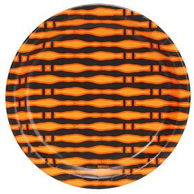 Halloween Black and Orange Print Dinner Plate (8)