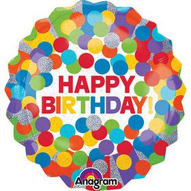 "Happy Birthday 28"" Rainbow Dot Holographic Foil Balloon"