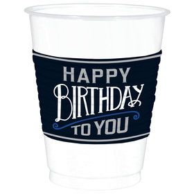 Happy Birthday Man 16oz Plastic Cups (25)