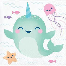 Happy Narwhal Beverage Napkins (16)
