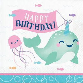Happy Narwhal Happy Birthday Lunch Napkins (16)