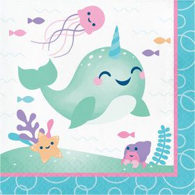 Happy Narwhal Lunch Napkins (16)