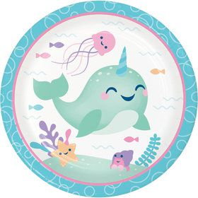 Happy Narwhal Lunch Plates (8)