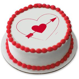 "Heart and Arrow 7.5"" Round Edible Cake Topper (Each)"