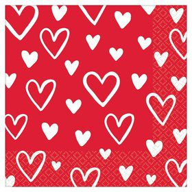 Heart Day Beverage Napkins (16)