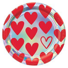 Heart Day Iridescent Lunch Plates (8)